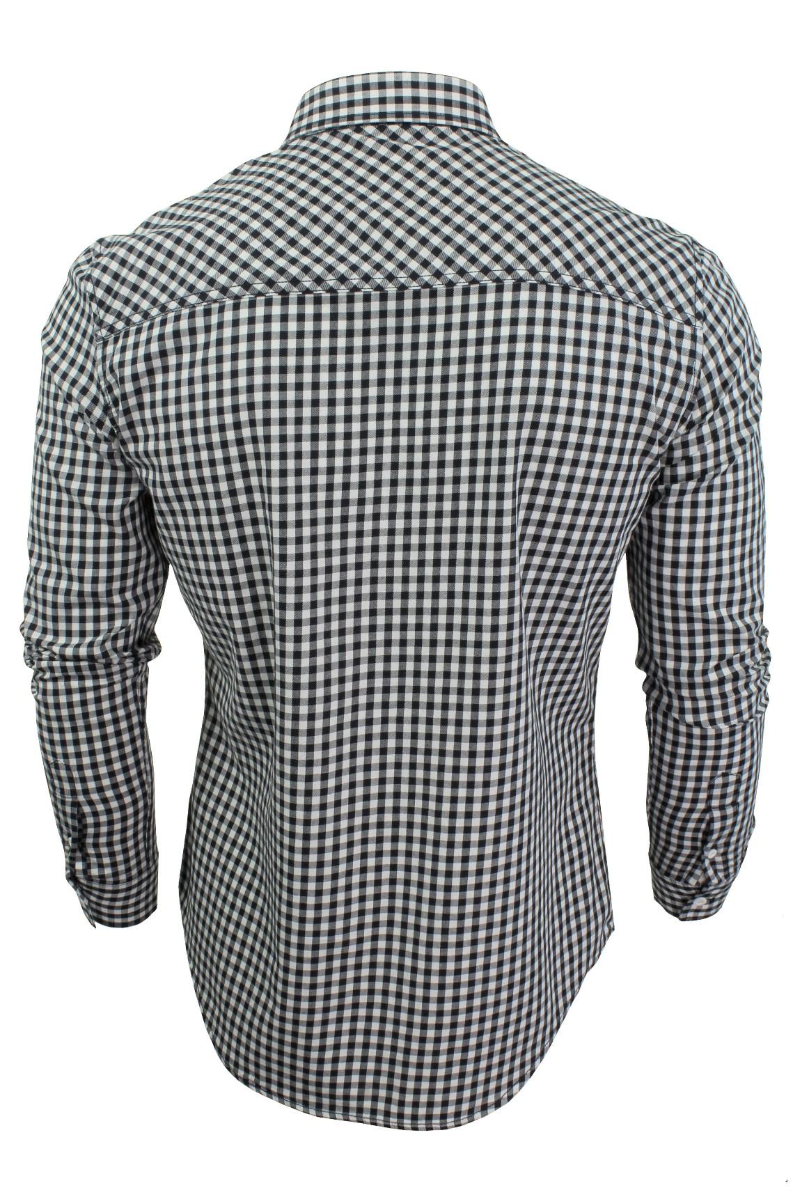 Mens-Gingham-Check-Shirt-by-Crosshatch-039-Larix-039 thumbnail 5