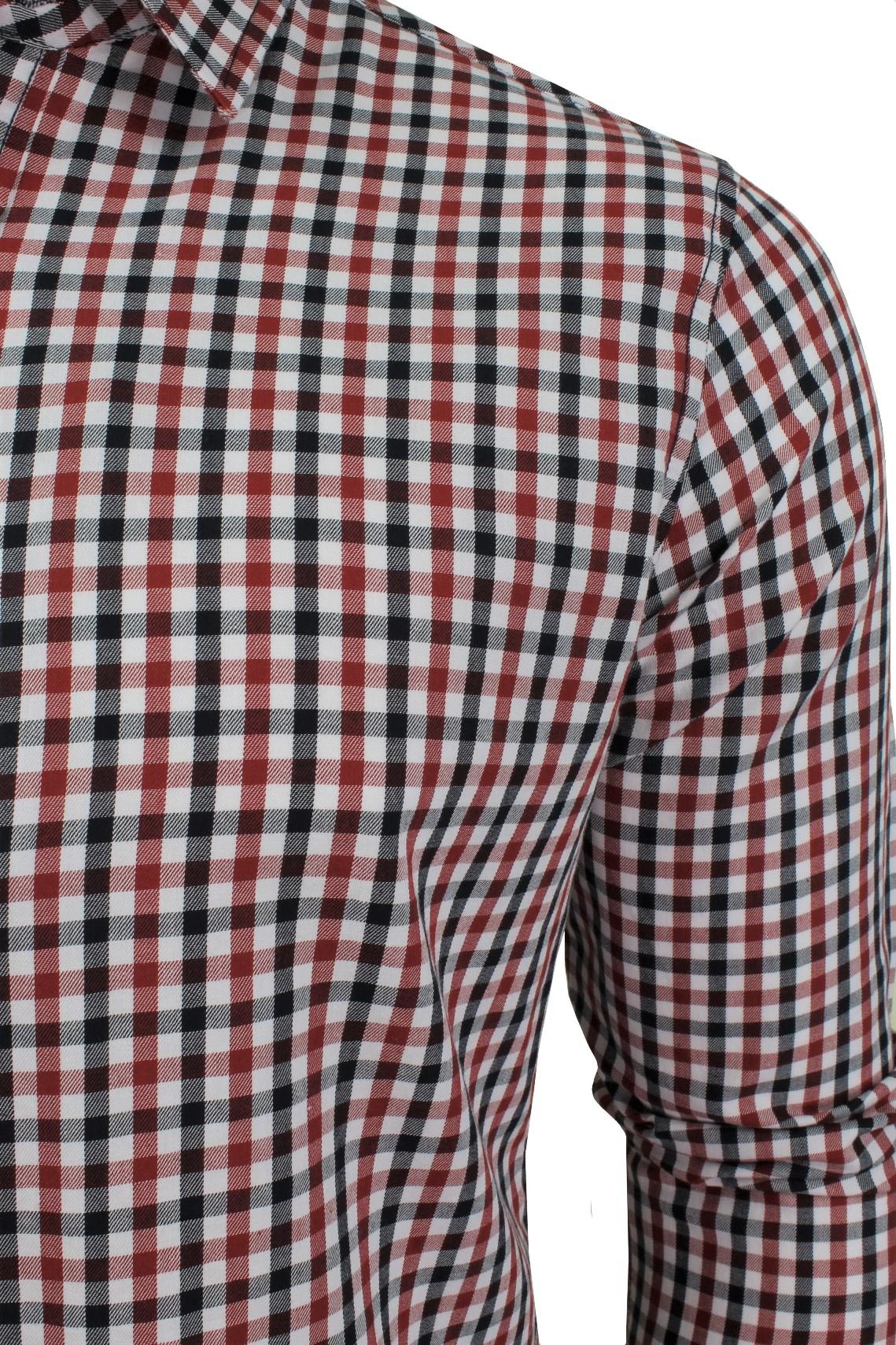 Mens-Gingham-Check-Shirt-by-Crosshatch-039-Larix-039 thumbnail 7