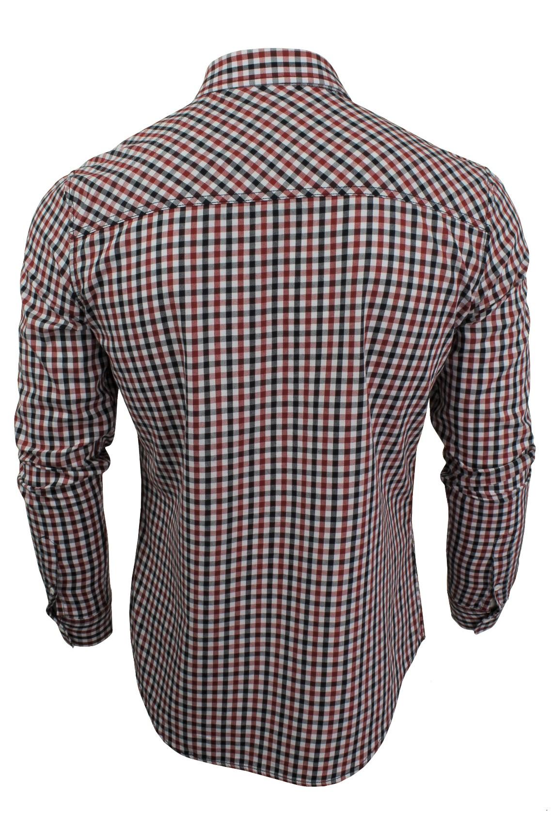 Mens-Gingham-Check-Shirt-by-Crosshatch-039-Larix-039 thumbnail 8
