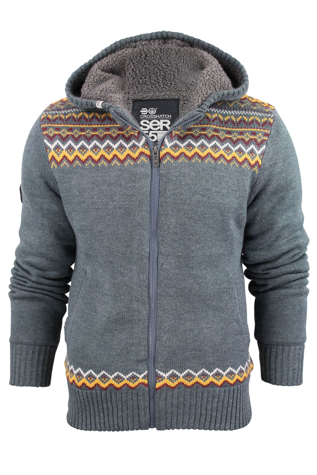Mens Crosshatch Fair Isle Zip Hoodie Cardigan Sherpa Fleece Linned ...