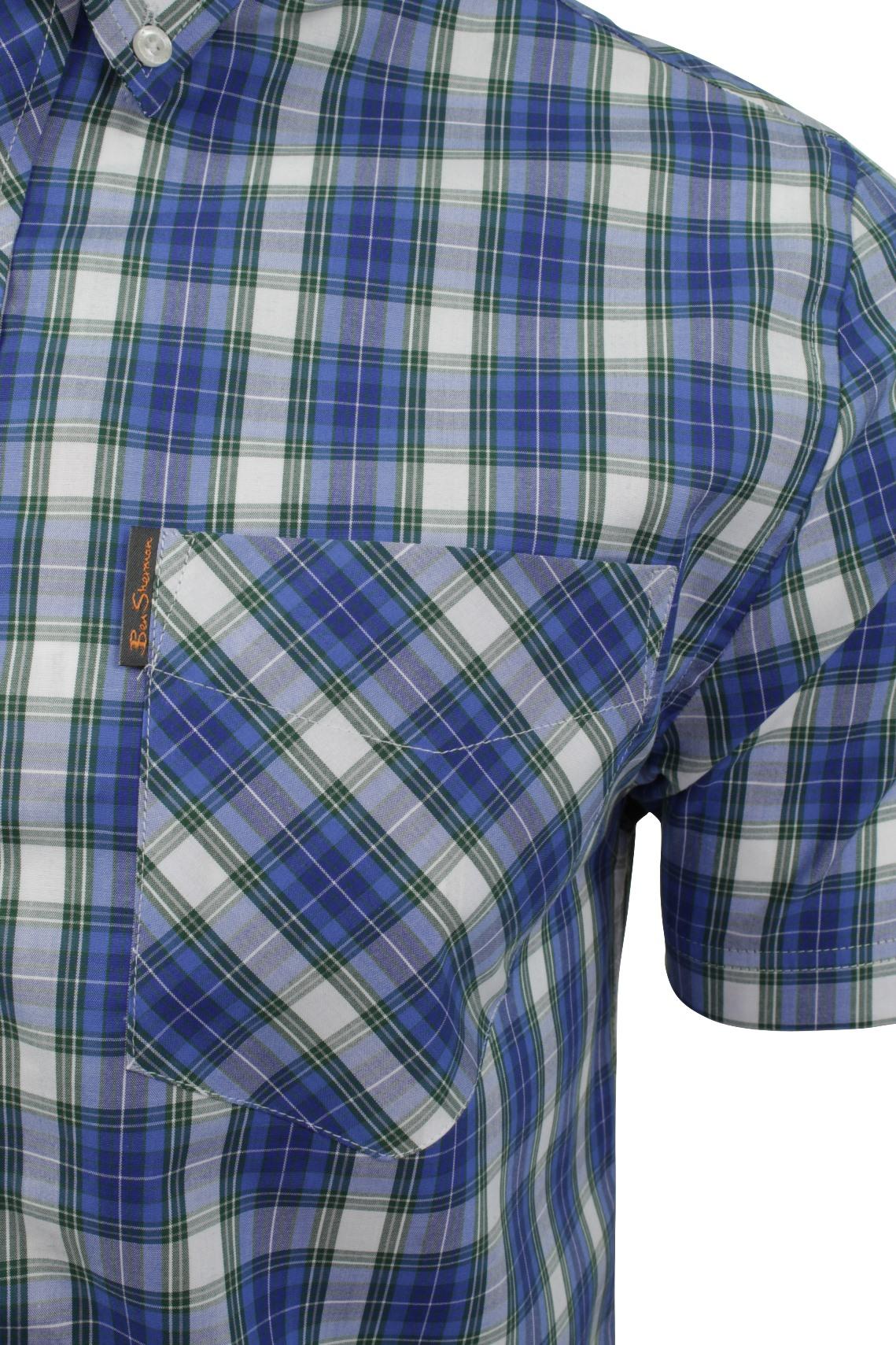 Mens-Tartan-Check-Shirt-by-Ben-Sherman-Short-Sleeved thumbnail 4