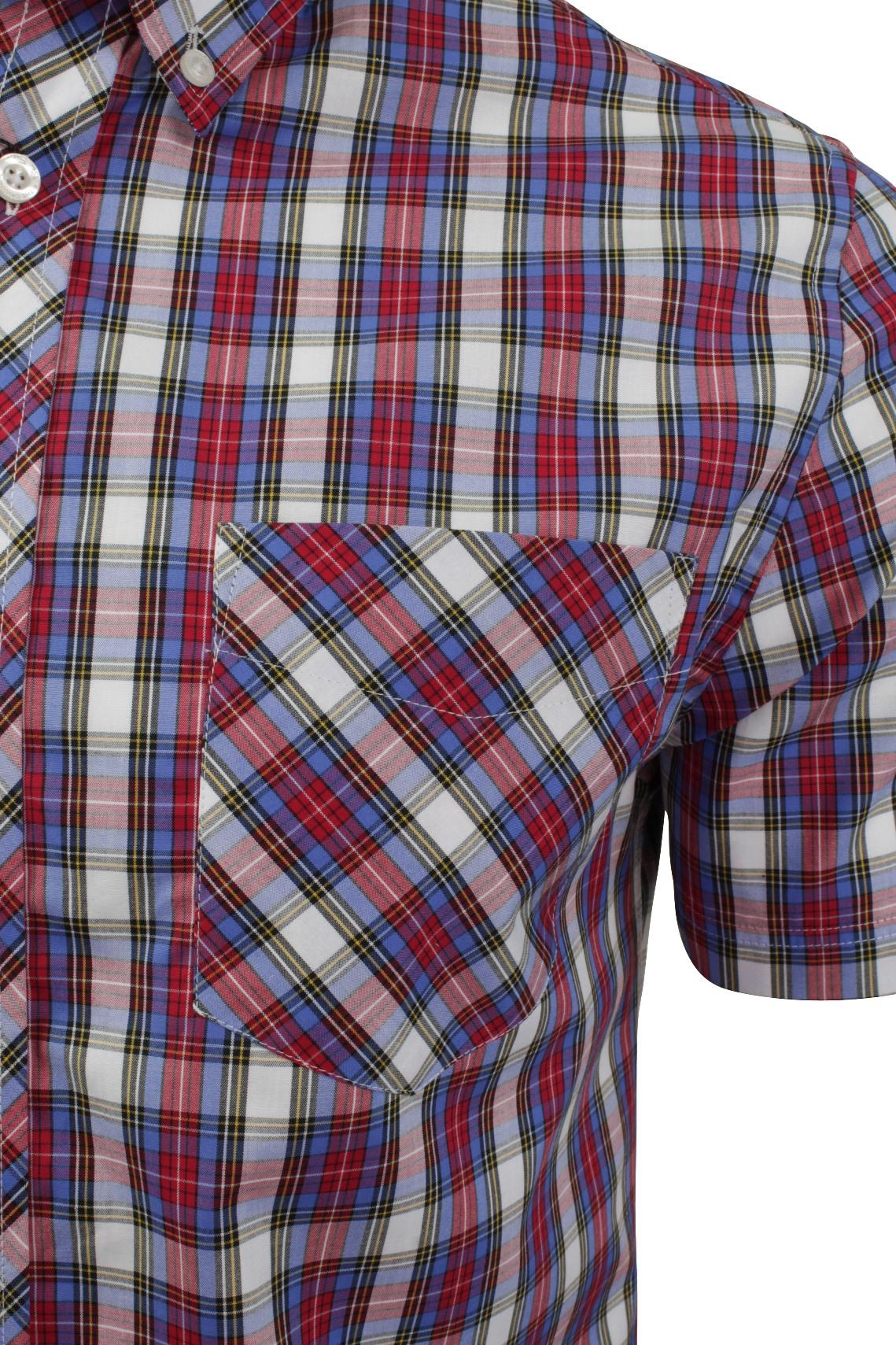 Mens-Tartan-Check-Shirt-by-Ben-Sherman-Short-Sleeved thumbnail 7