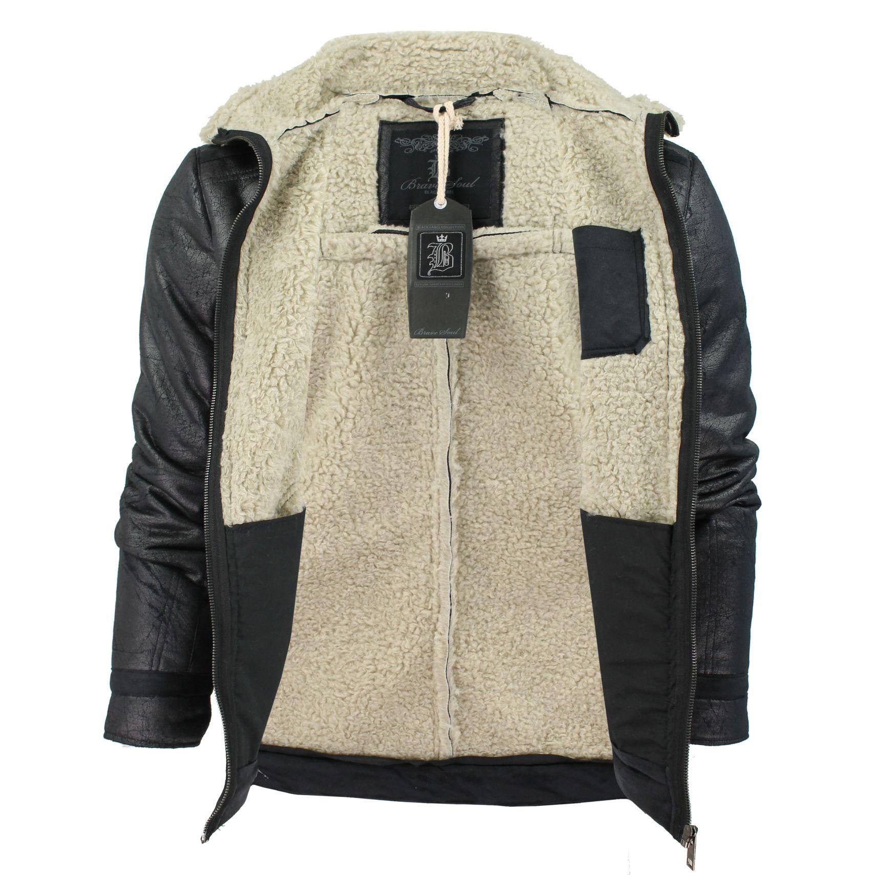 Mens-Brave-Soul-039-Spitfire-039-Aviator-Jacket-Coat-Mens-Faux-Fur-Trim