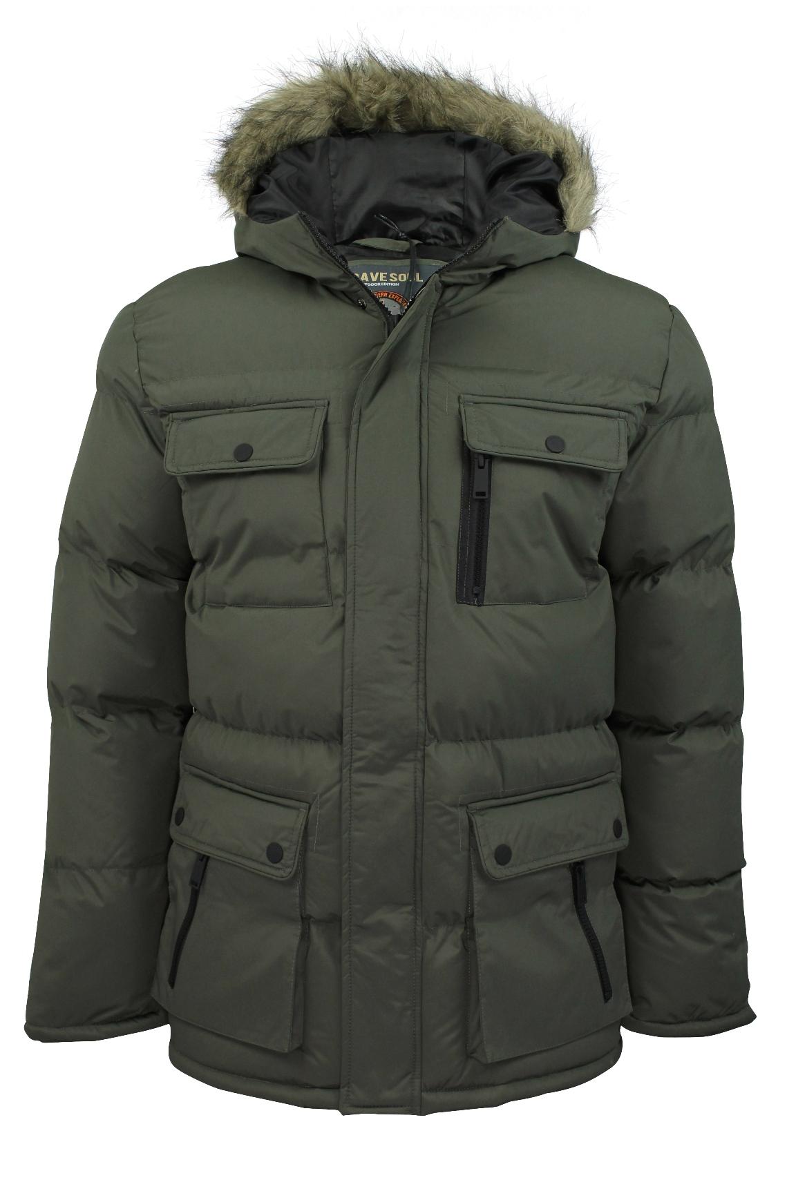 mens winter parka jackets coats by brave soul everest hooded ebay #2: mjk everest pka khaki 01