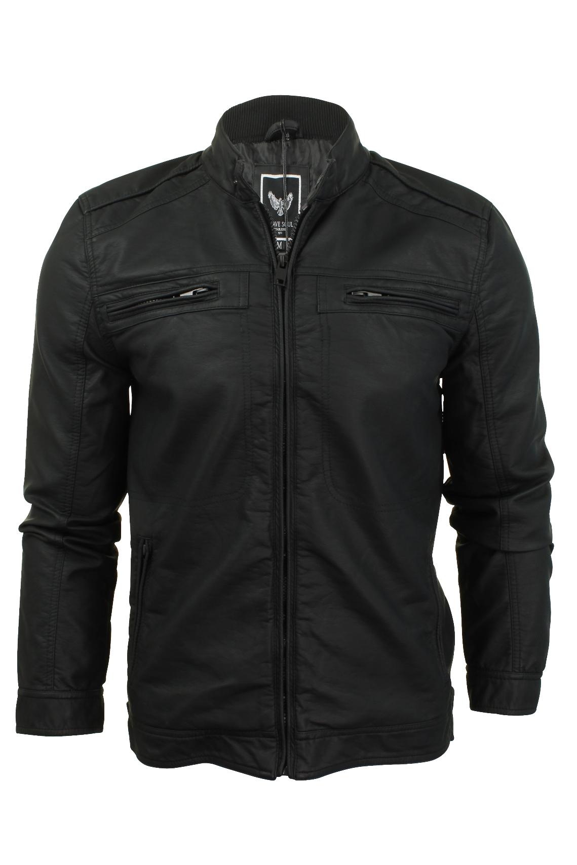 mens biker jacket by brave soul faux pu leather ebay. Black Bedroom Furniture Sets. Home Design Ideas
