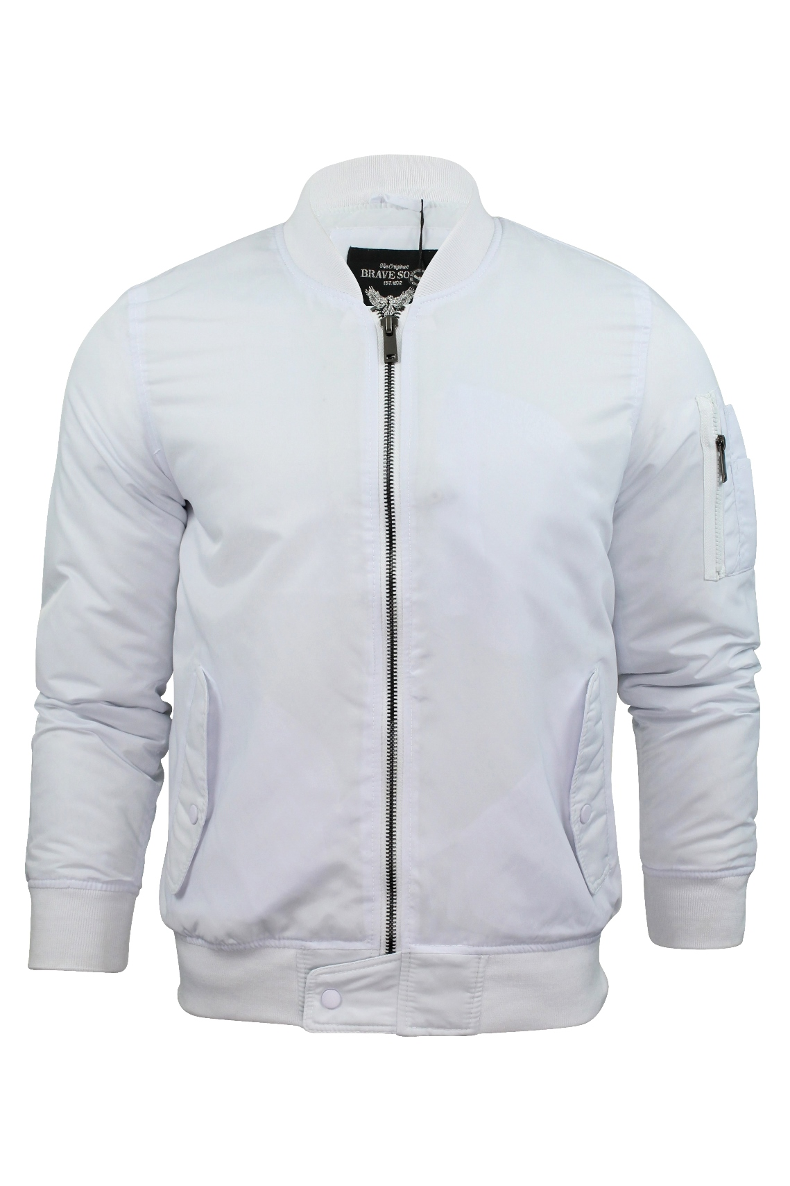 White Mens Bomber Jacket Coat Nj
