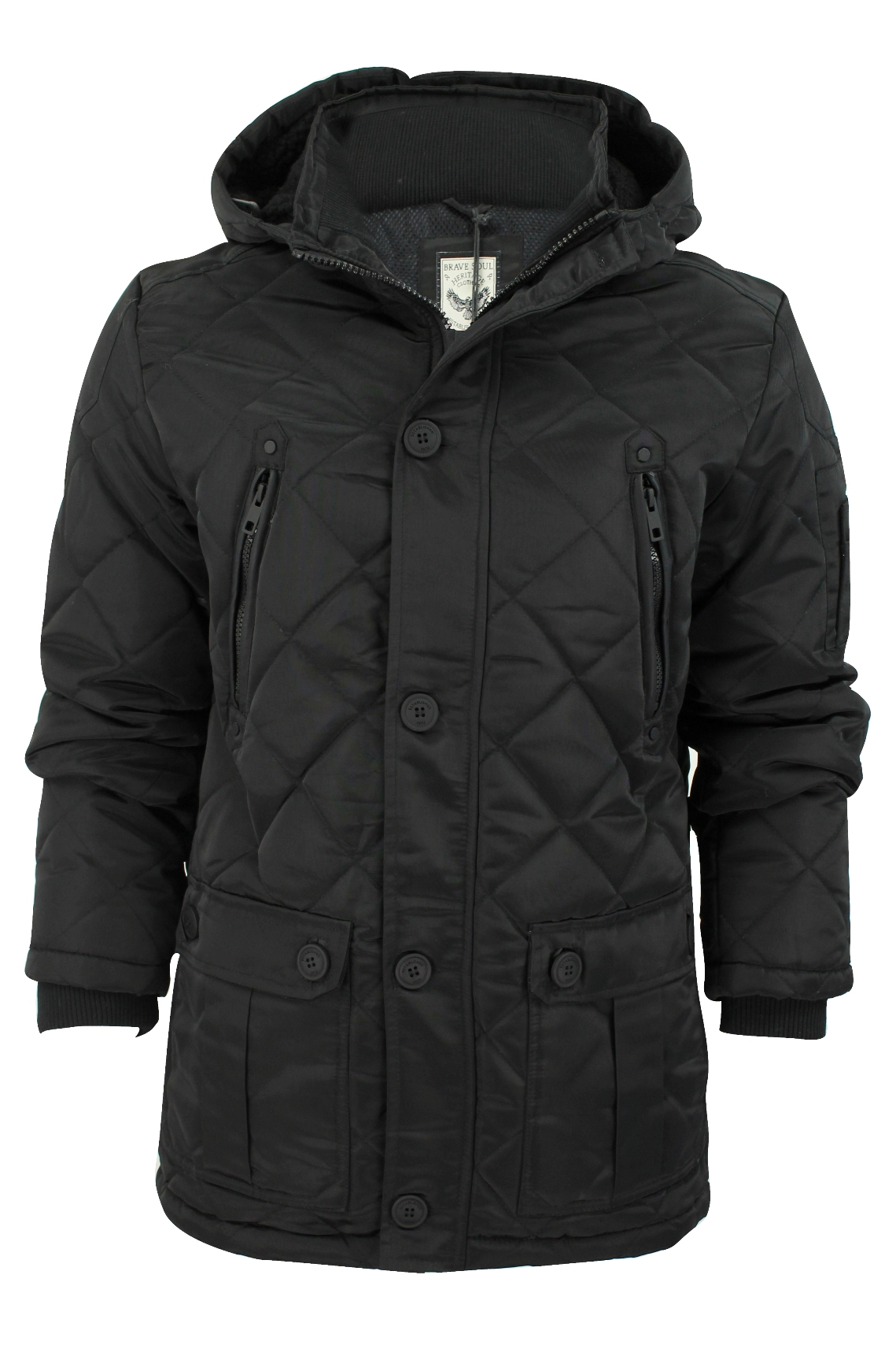 Mens Quilted Hooded Jacket by Brave Soul 'Scout' | eBay : mens quilted hooded jacket - Adamdwight.com