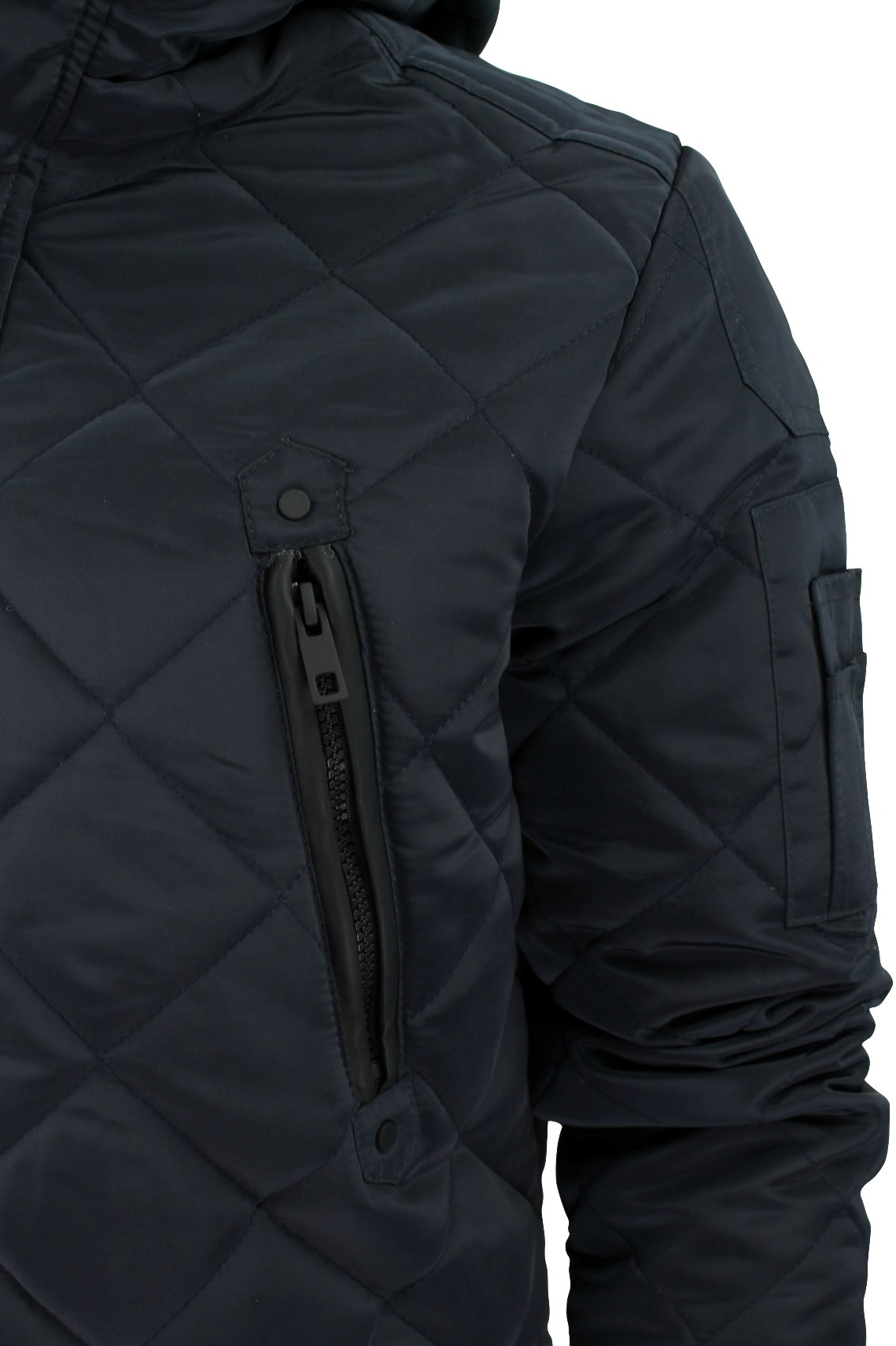 Mens Quilted Hooded Jacket By Brave Soul Scout M Navy Ebay