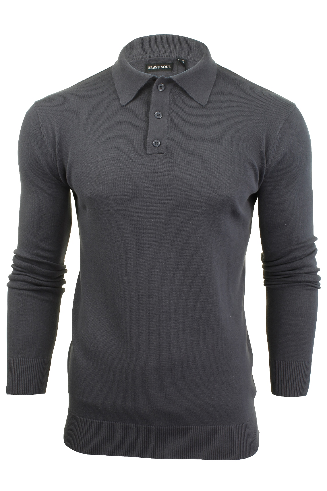 Mens knitted polo shirt by brave soul long sleeved ebay for Knitted polo shirt mens