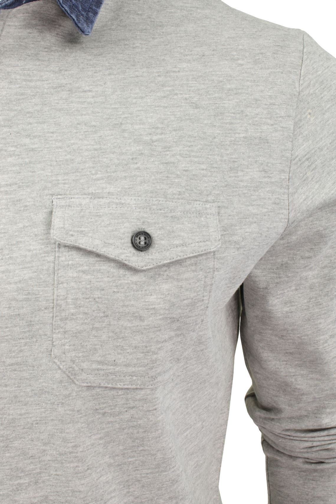 Mens-Long-Sleeved-Polo-T-Shirt-by-Brave-Soul-with-Denim-Collar thumbnail 7