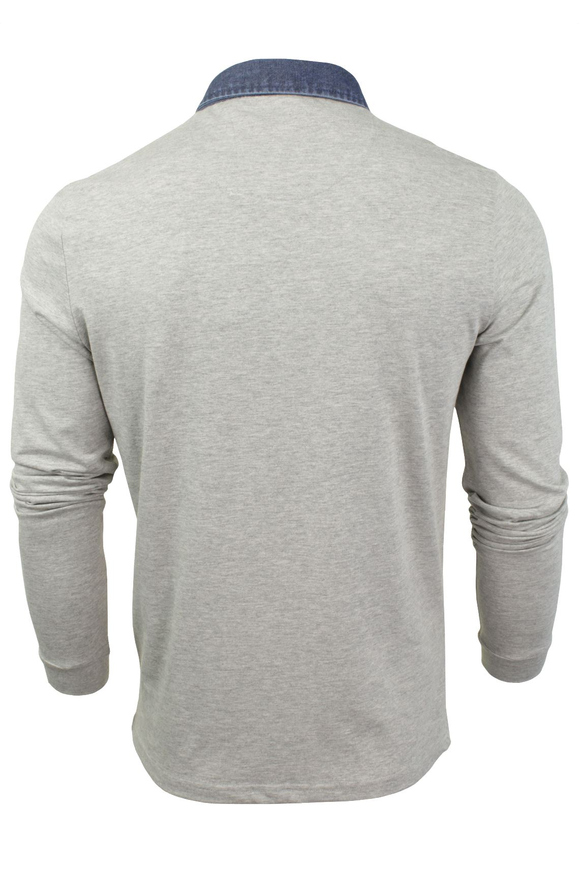 Mens-Long-Sleeved-Polo-T-Shirt-by-Brave-Soul-with-Denim-Collar thumbnail 8