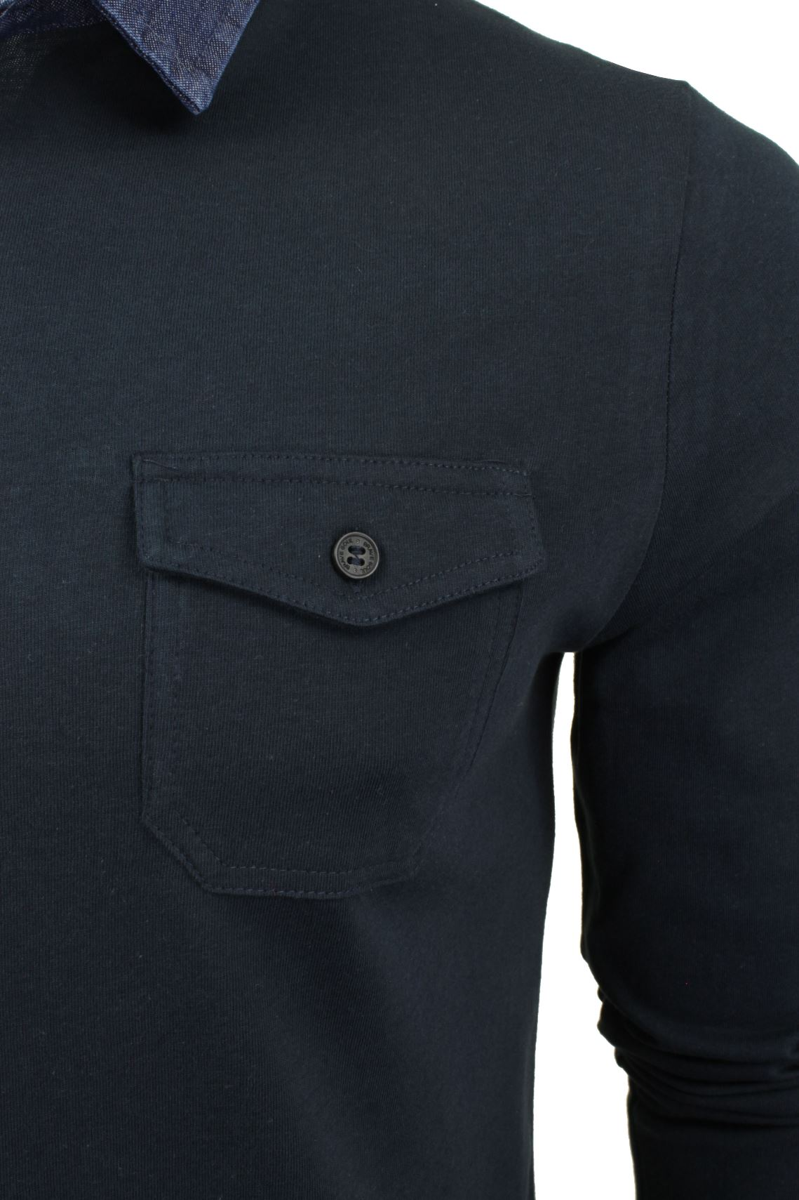 Mens-Long-Sleeved-Polo-T-Shirt-by-Brave-Soul-with-Denim-Collar thumbnail 4