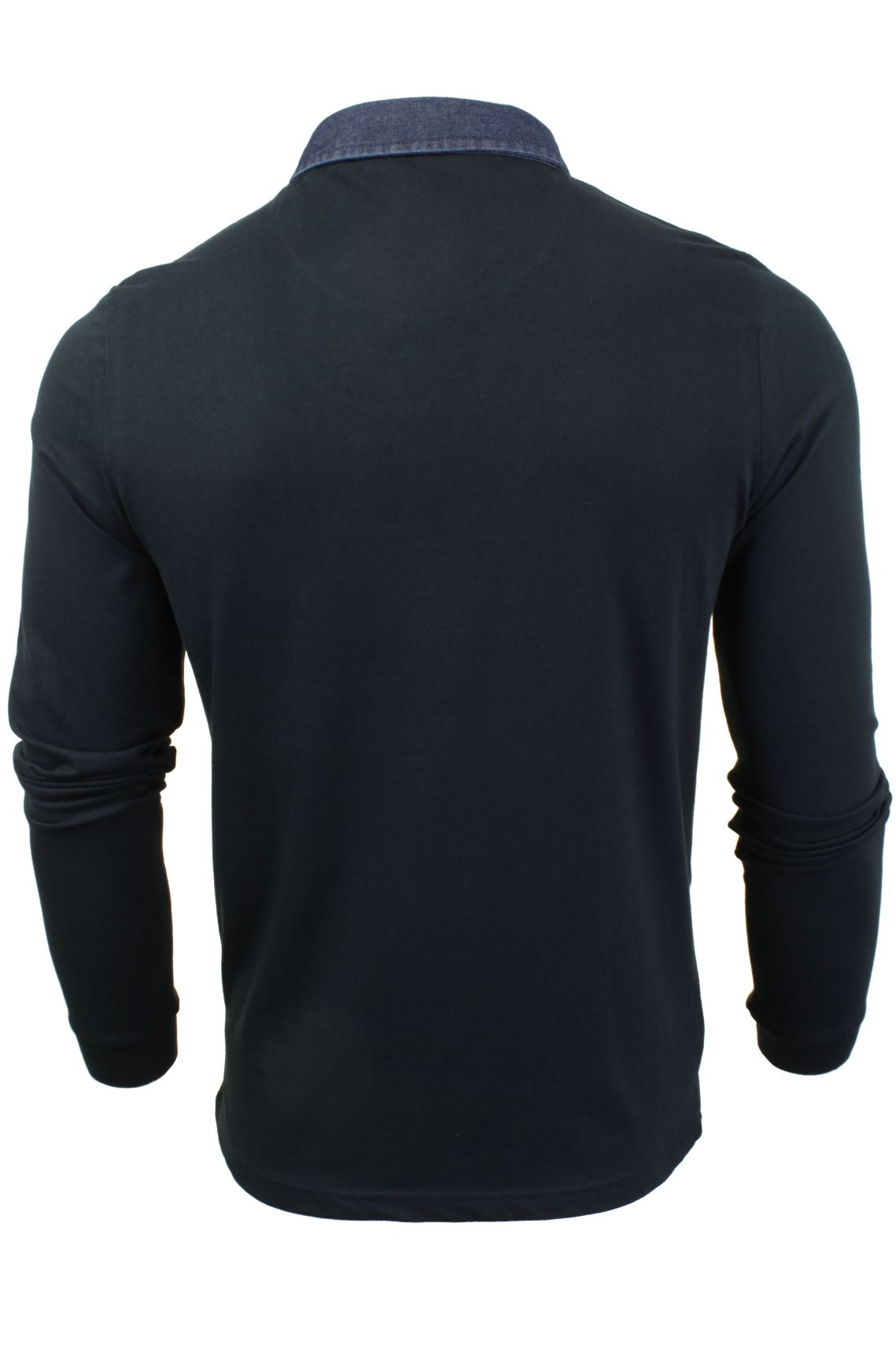 Mens-Long-Sleeved-Polo-T-Shirt-by-Brave-Soul-with-Denim-Collar thumbnail 5