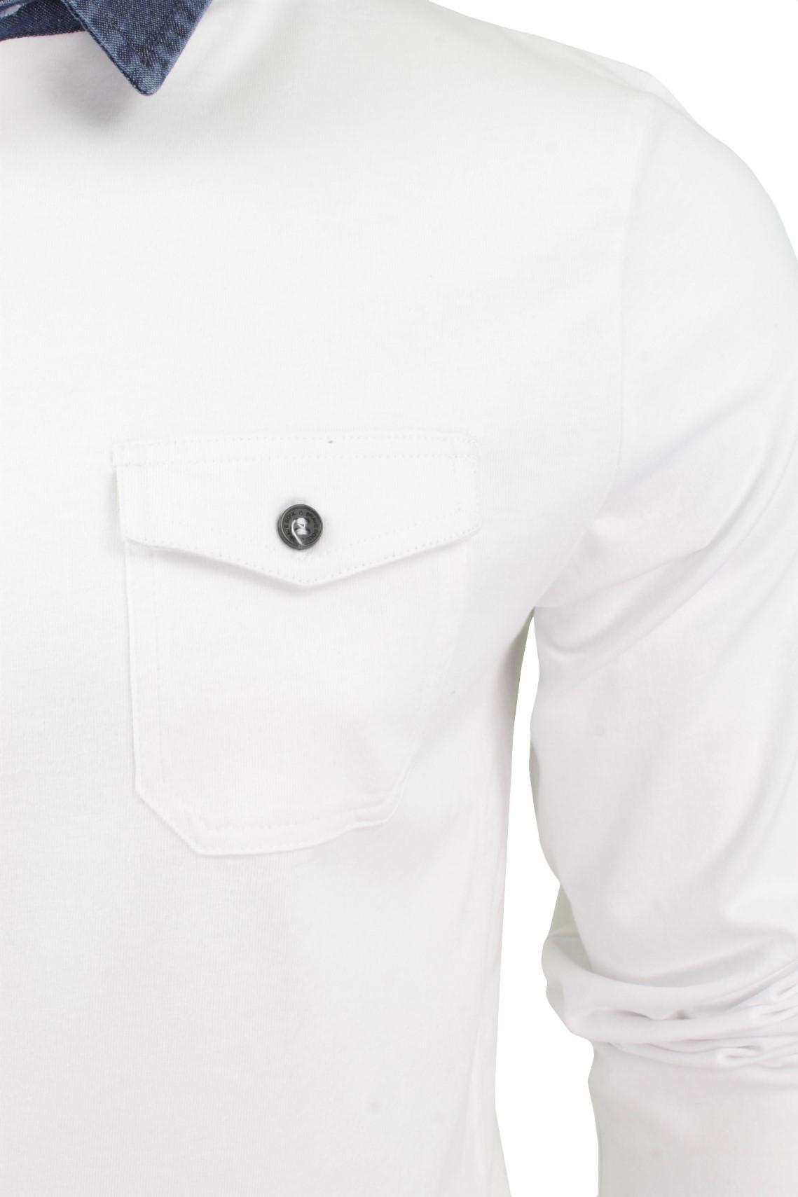 Mens-Maniche-lunghe-Polo-T-shirt-da-Coraggioso-Anima-con-il-collare-Denim