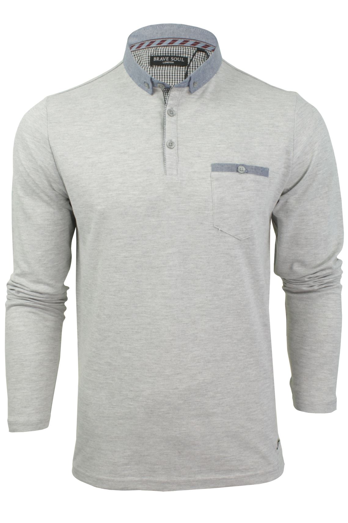 Mens pique polo t shirt by brave soul 39 hera 39 long sleeved for Mens long sleeve pique polo shirts