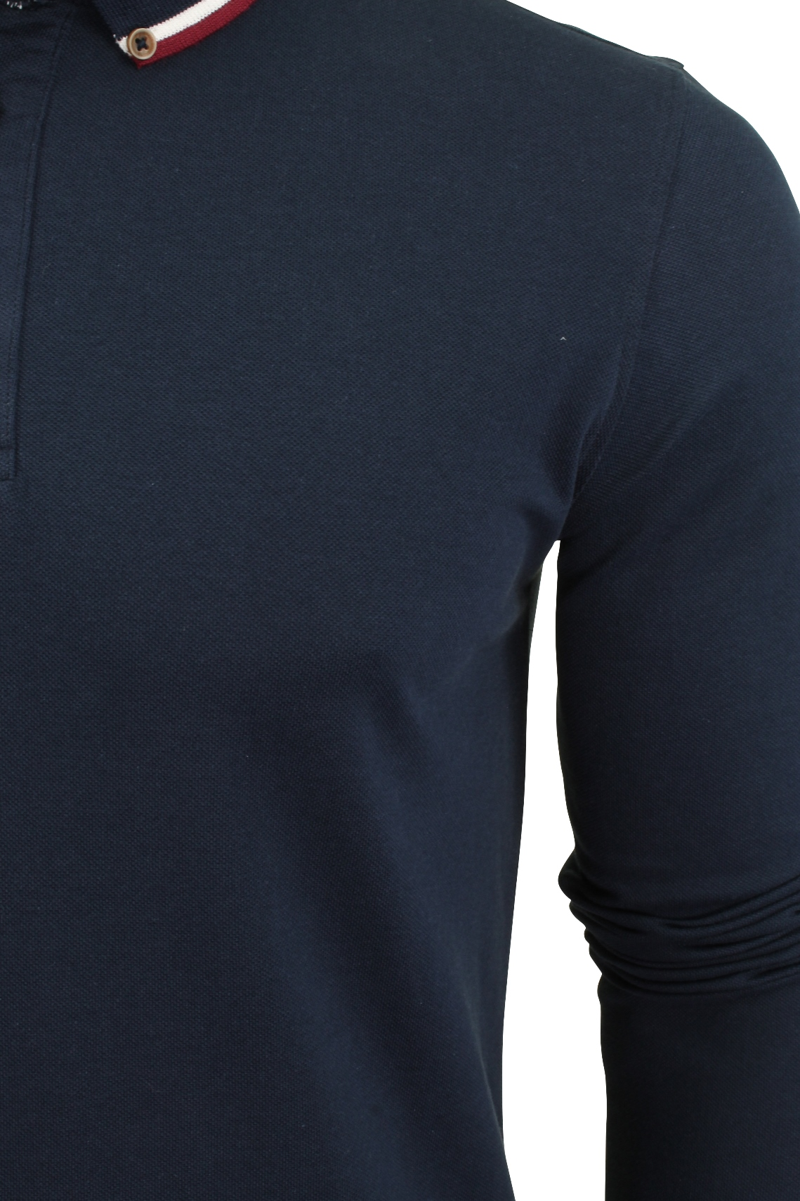 Mens-Polo-T-Shirt-by-Brave-Soul-039-Kennedy-039-Tipped-Collar-Long-Sleeved thumbnail 38