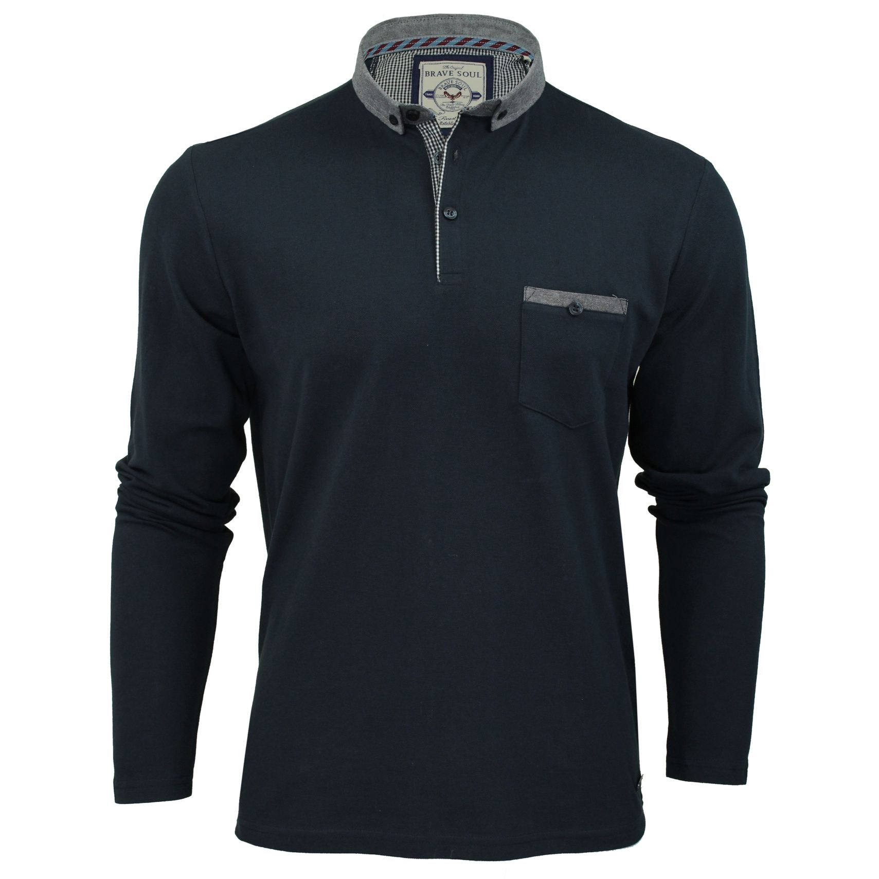 Mens-Polo-T-Shirt-by-Brave-Soul-039-Lincoln-039-Pique-Long-Sleeved