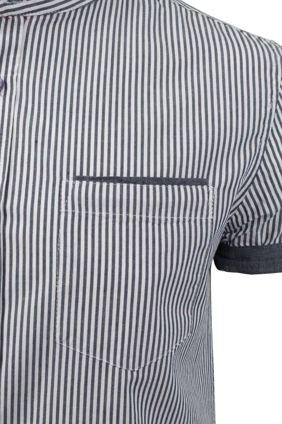 Mens short sleeved striped grandad collar shirt by brave Mens grandad collar shirt