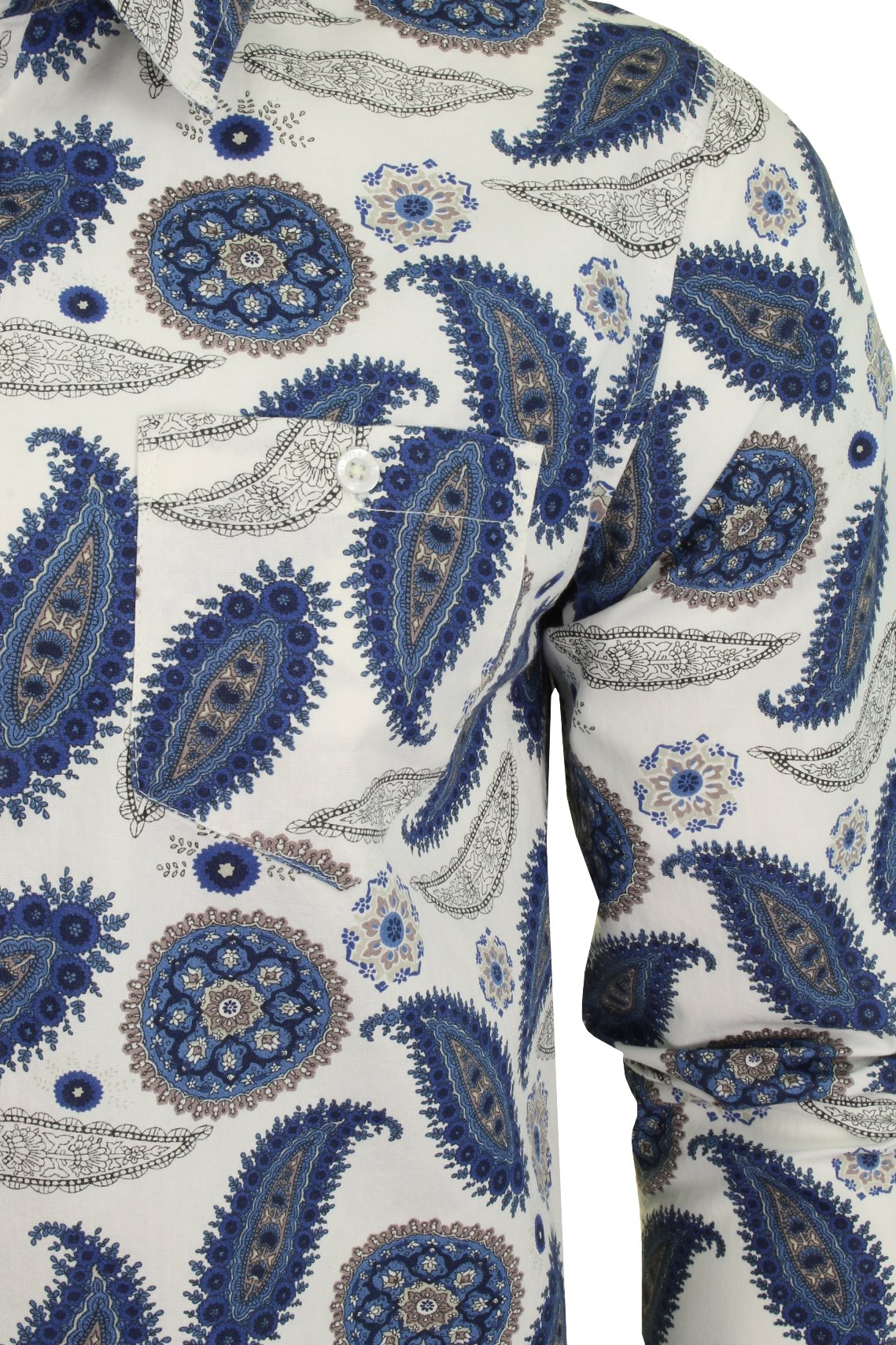 Brave-Soul-039-Regalia-039-Mens-Paisley-Long-Sleeved-Shirt thumbnail 3