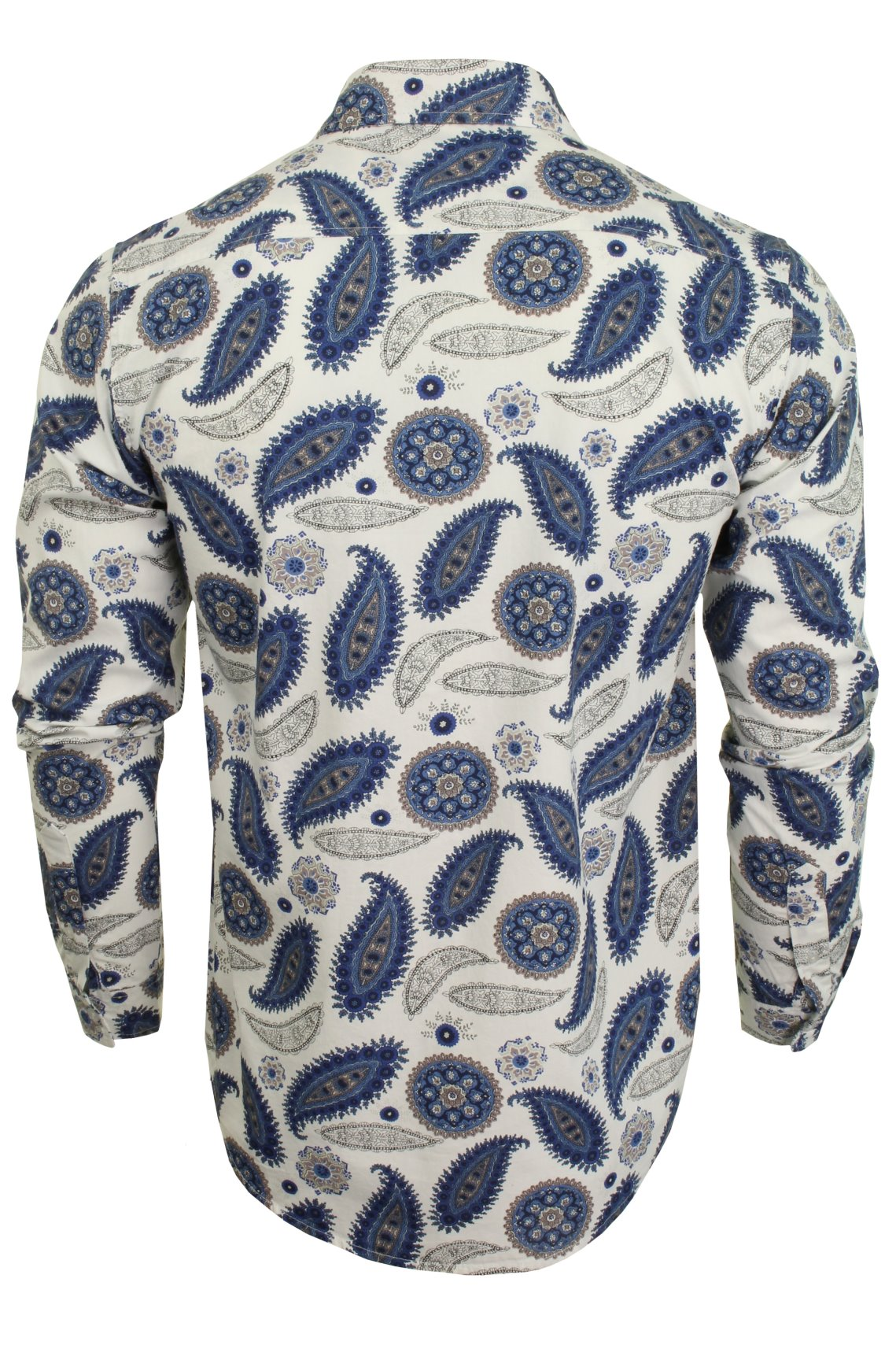 Brave-Soul-039-Regalia-039-Mens-Paisley-Long-Sleeved-Shirt thumbnail 4