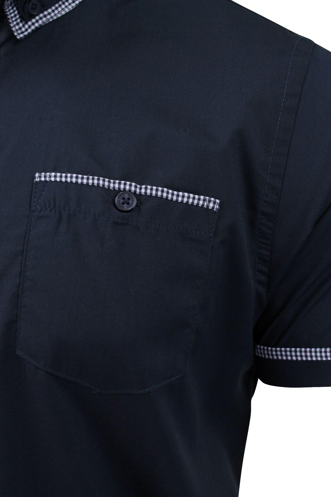 Mens-Shirt-by-Brave-Soul-039-Colvin-039-Gingham-Trim-Short-Sleeved thumbnail 6