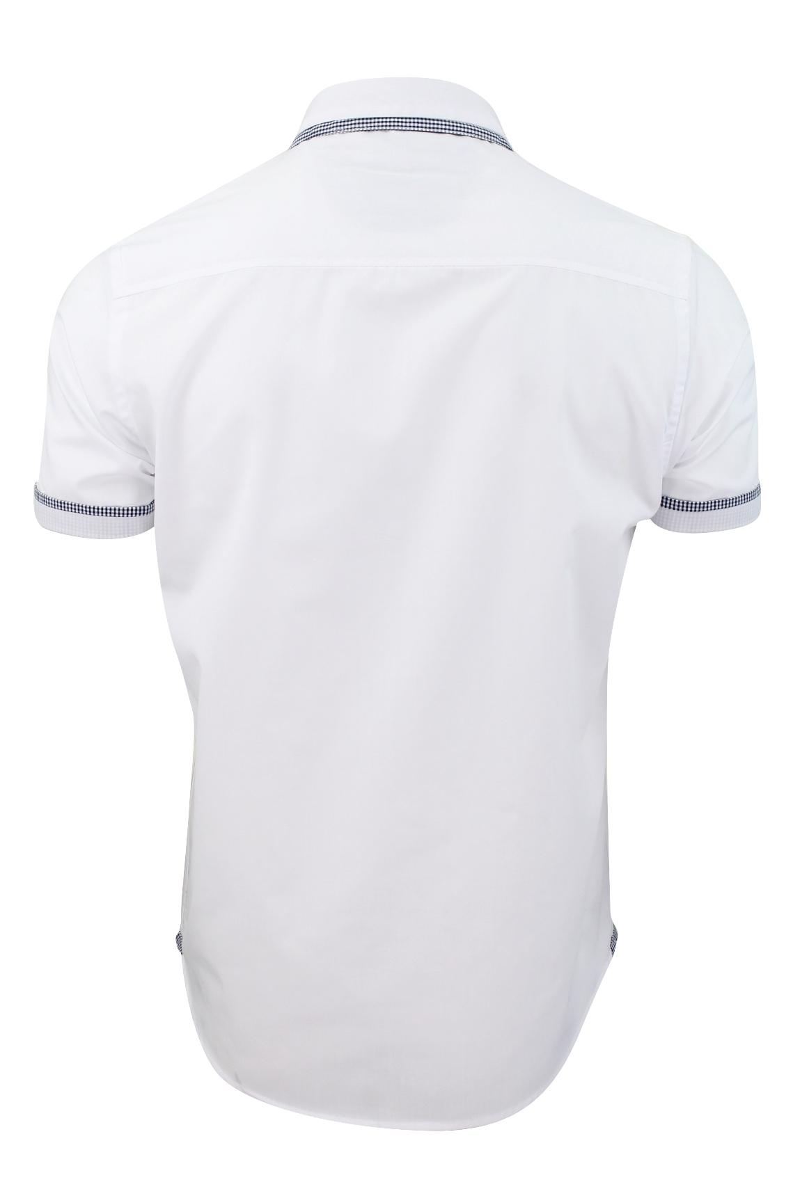 Mens-Shirt-by-Brave-Soul-039-Colvin-039-Gingham-Trim-Short-Sleeved thumbnail 10