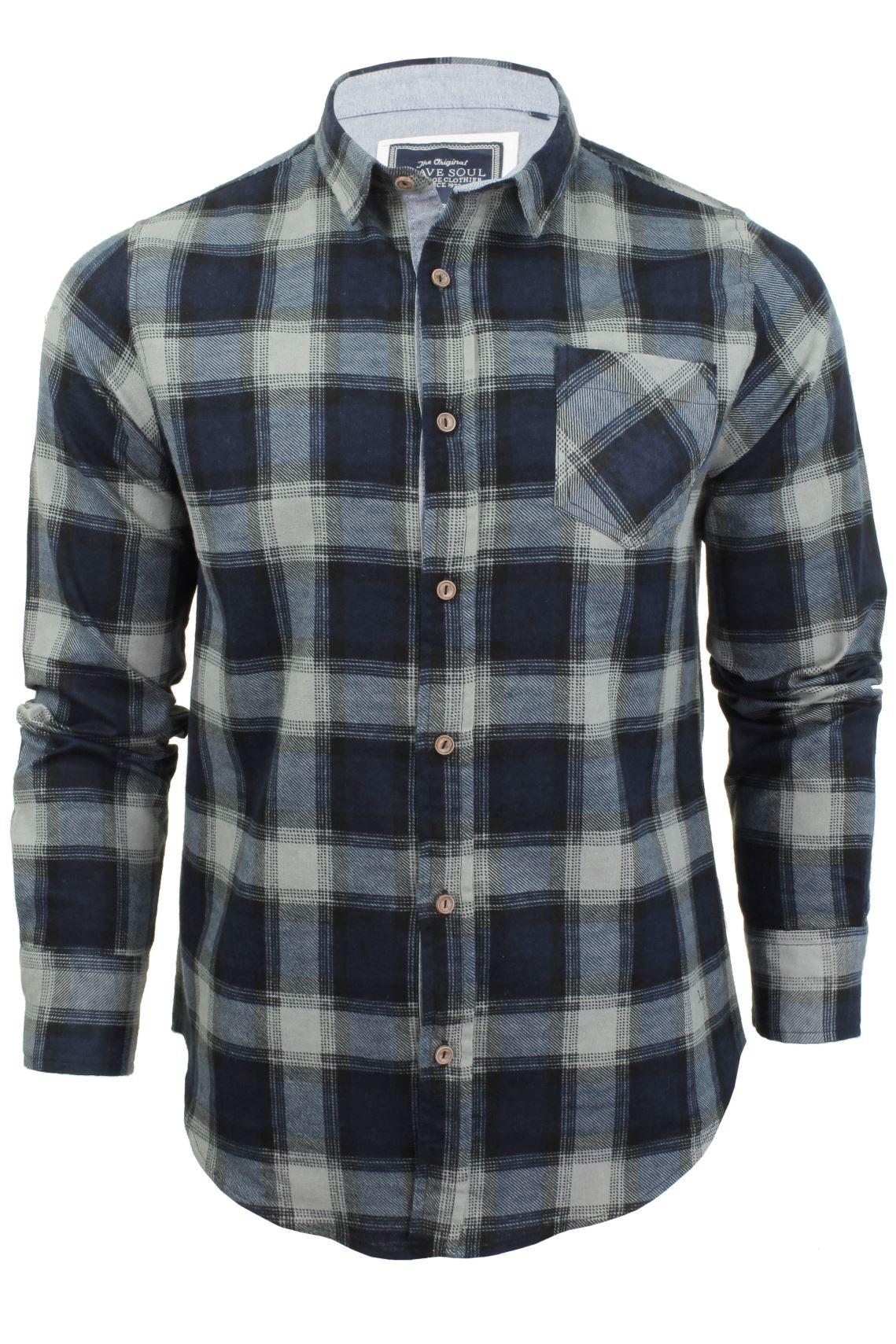 Brave Soul Brushed Flannel Check Cotton Jack Shirt Long Sleeved   eBay