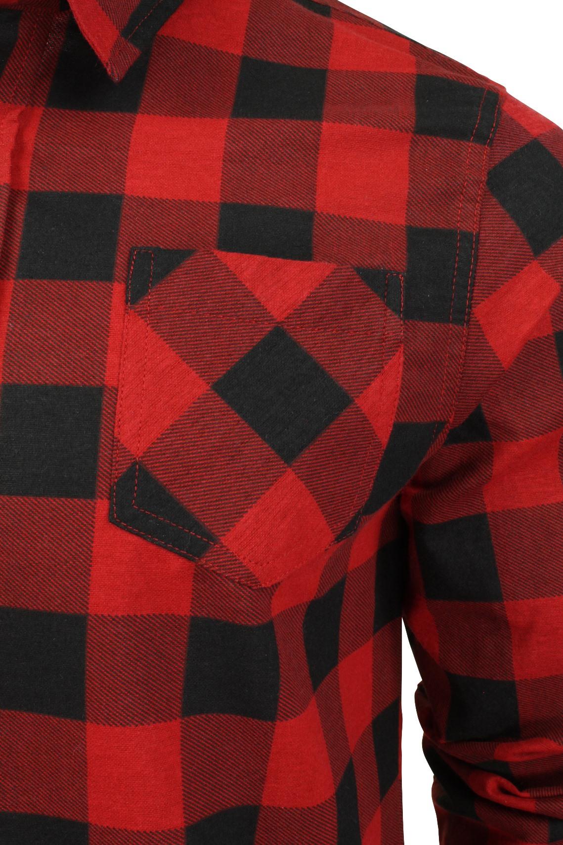 Verificacion-de-franela-de-algodon-cepillado-alma-valiente-camisa-de-mangas-largas-De-Jack miniatura 20