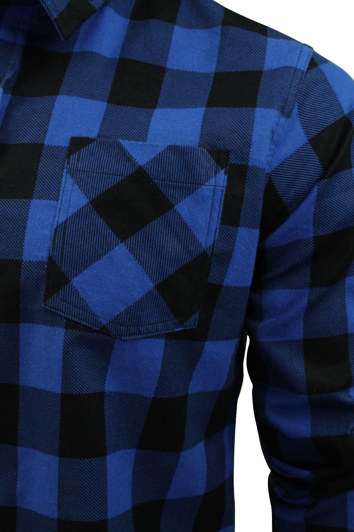 Brave-Soul-Brushed-Flannel-Check-Cotton-Jack-Shirt-Long-Sleeved thumbnail 5