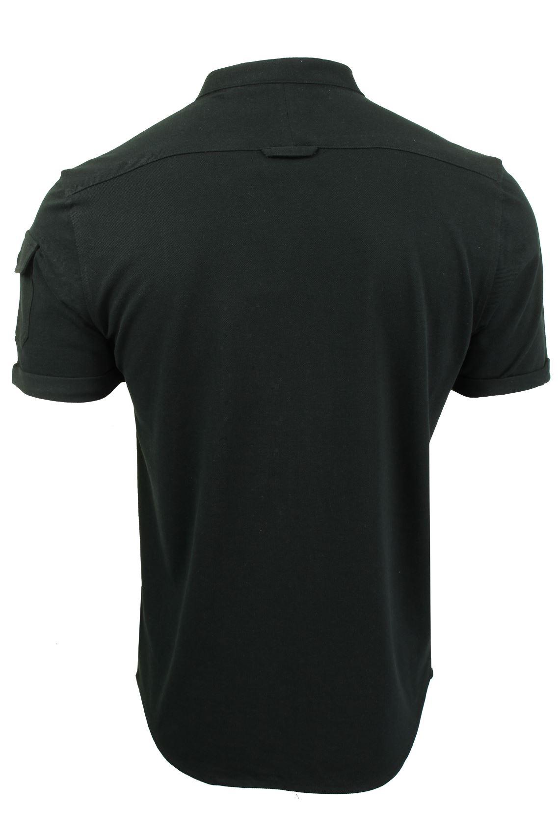 Mens-Grandad-Collar-Pique-Shirt-by-Brave-Soul-039-Joey-039 thumbnail 5