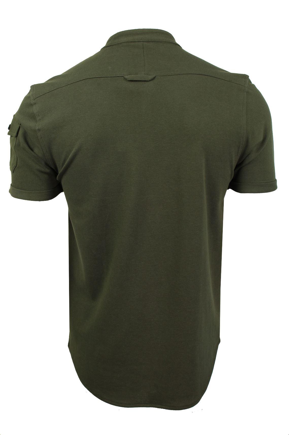 Mens-Grandad-Collar-Pique-Shirt-by-Brave-Soul-039-Joey-039 thumbnail 8