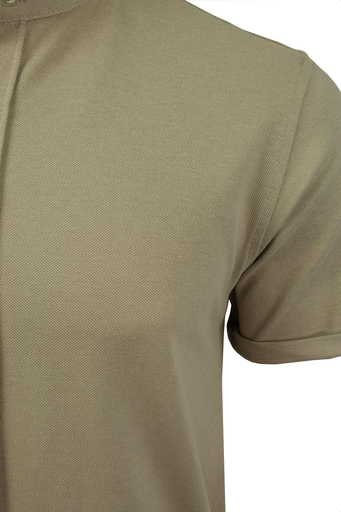 Mens-Grandad-Collar-Pique-Shirt-by-Brave-Soul-039-Joey-039 thumbnail 10