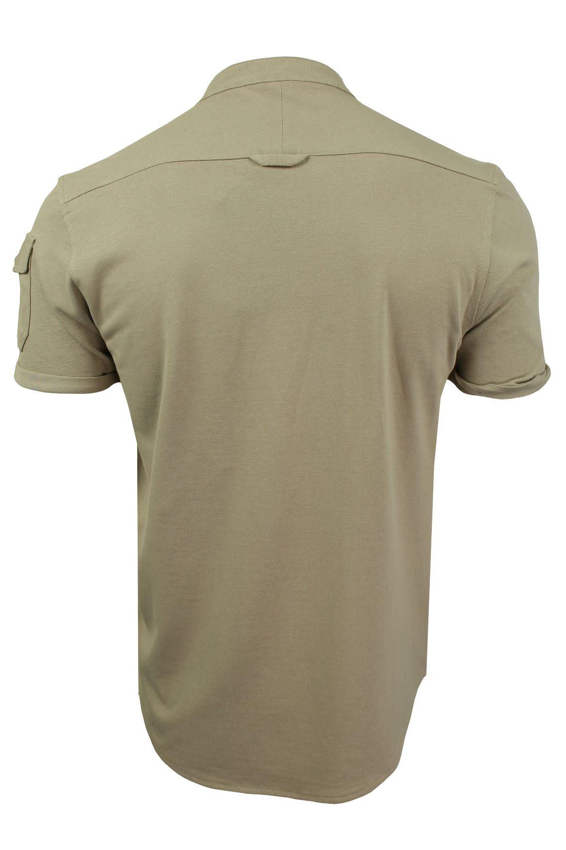 Mens-Grandad-Collar-Pique-Shirt-by-Brave-Soul-039-Joey-039 thumbnail 11