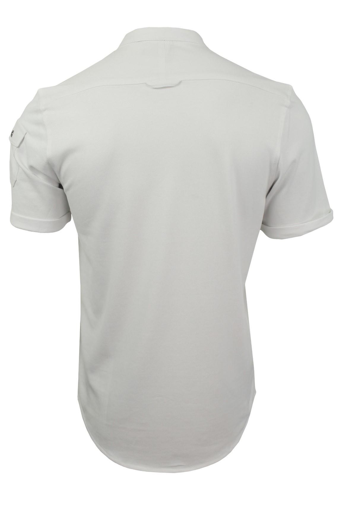 Mens-Grandad-Collar-Pique-Shirt-by-Brave-Soul-039-Joey-039 thumbnail 14