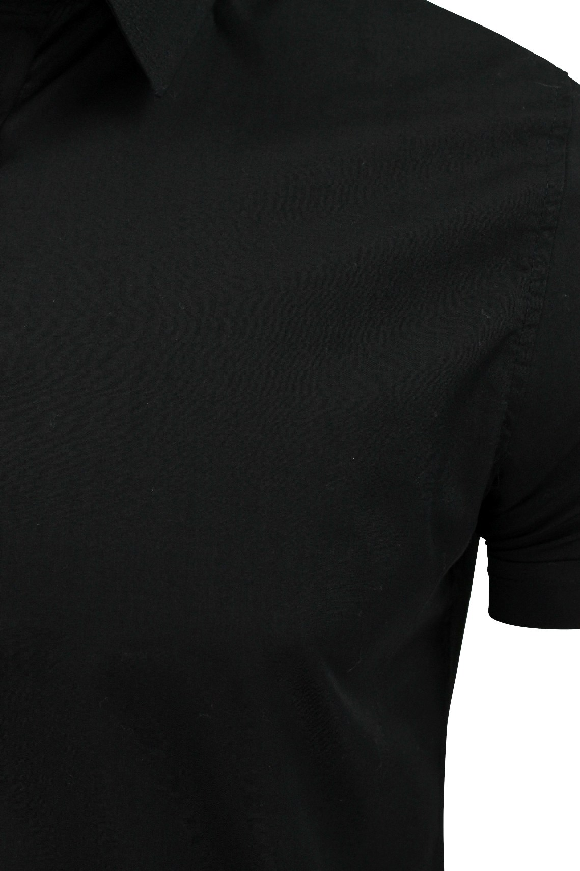 Brave-Soul-Mens-Plain-Shirt-Short-Sleeved-Slim-Fit thumbnail 4