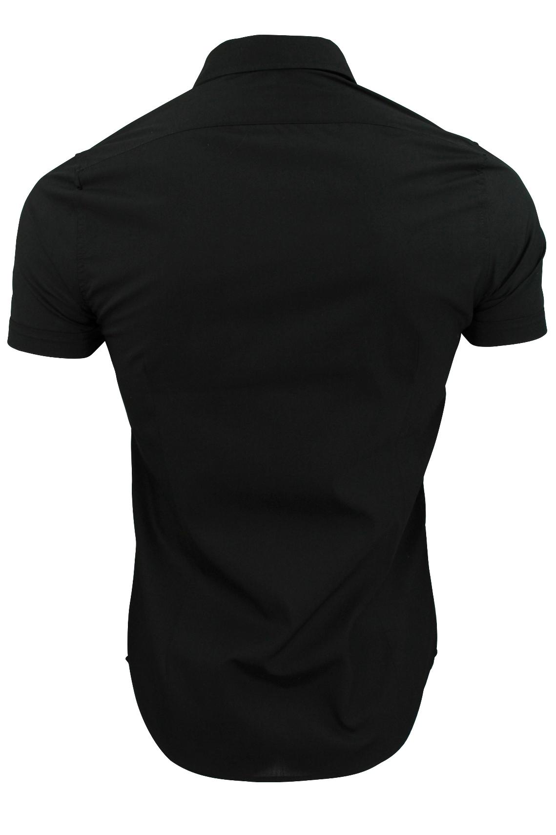 Brave-Soul-Mens-Plain-Shirt-Short-Sleeved-Slim-Fit thumbnail 5