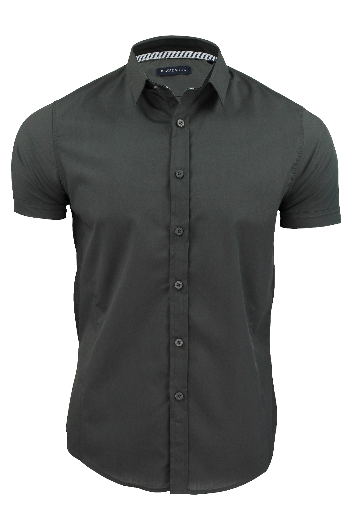 Mens-Plain-Shirt-by-Brave-Soul-Slim-Fit-Short-Sleeved