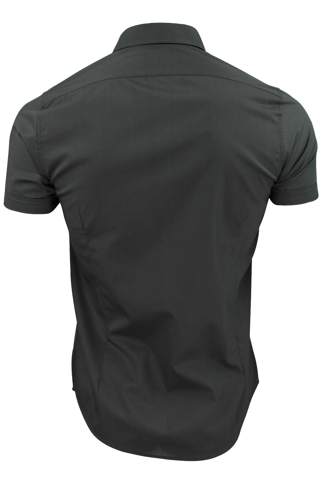 Brave-Soul-Mens-Plain-Shirt-Short-Sleeved-Slim-Fit thumbnail 11