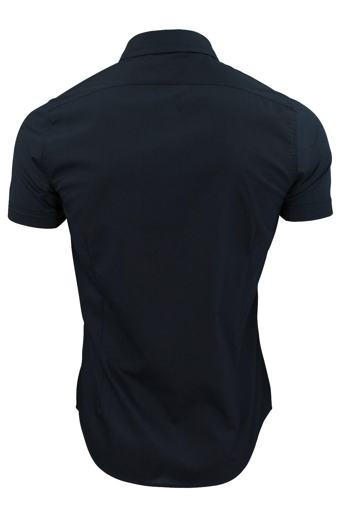 Brave-Soul-Mens-Plain-Shirt-Short-Sleeved-Slim-Fit thumbnail 20