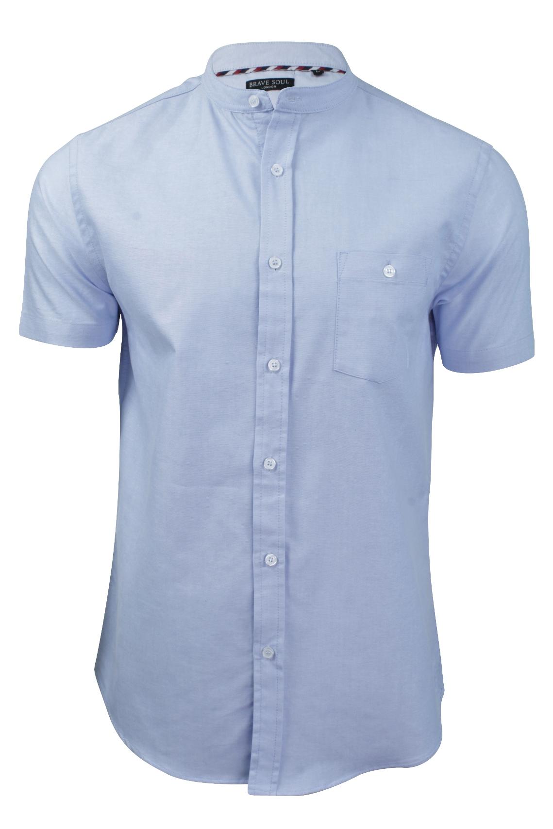 Mens grandad collar shirt by brave soul 39 tribune 39 slim fit for Men s dobby shirt