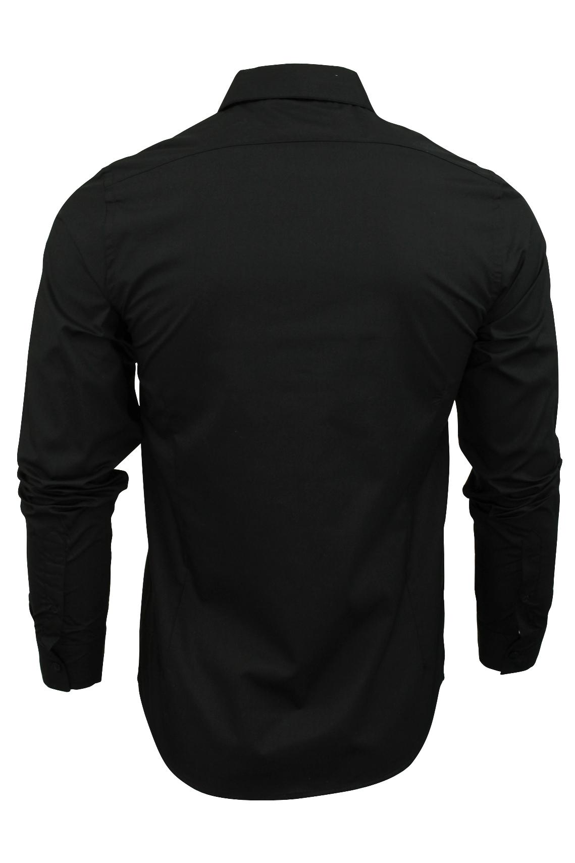 Mens-Plain-Shirt-by-Brave-Soul-039-Tudor-039-Long-Sleeved thumbnail 5