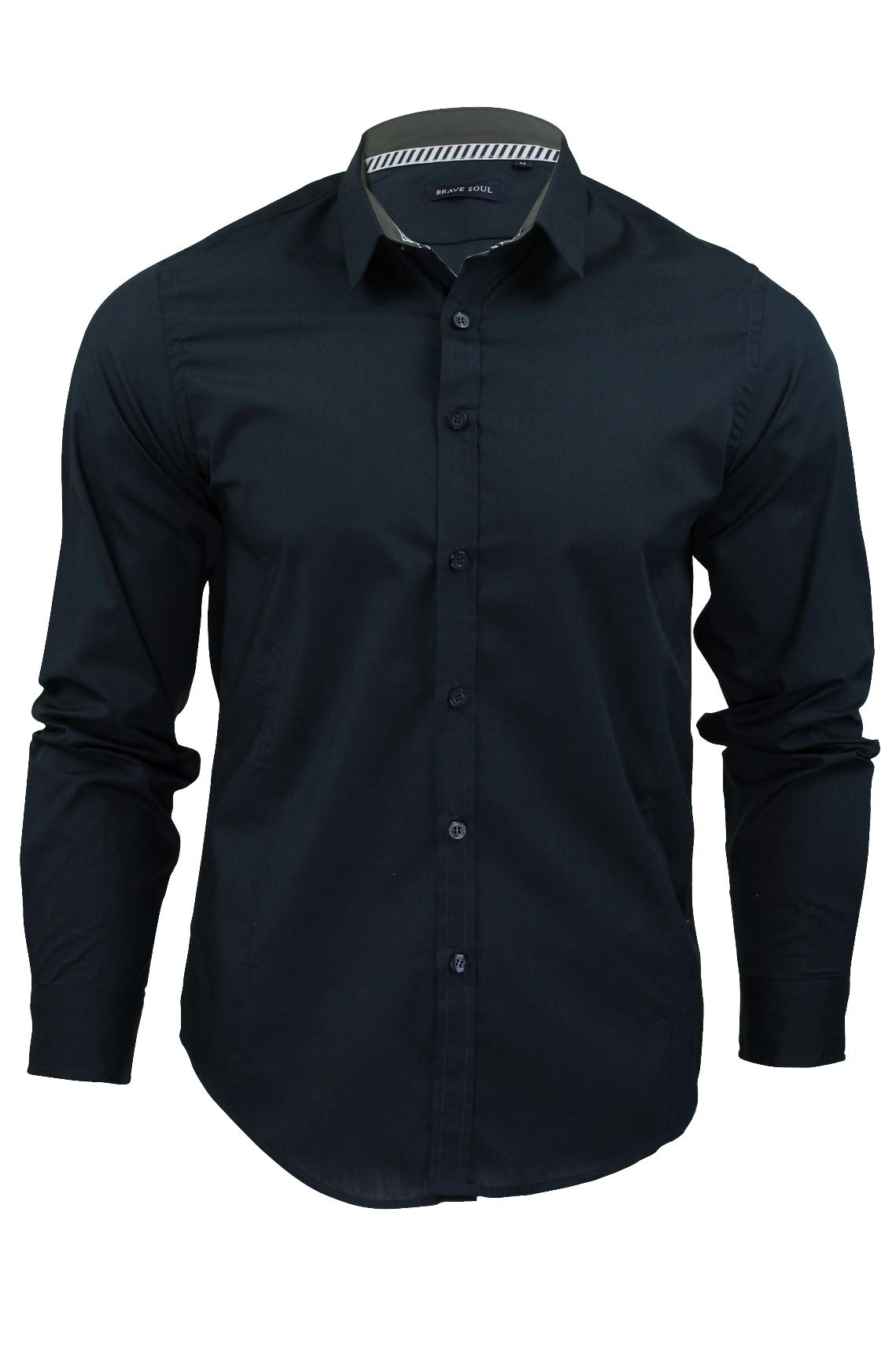 Mens-Plain-Shirt-by-Brave-Soul-039-Tudor-039-Long-Sleeved thumbnail 9