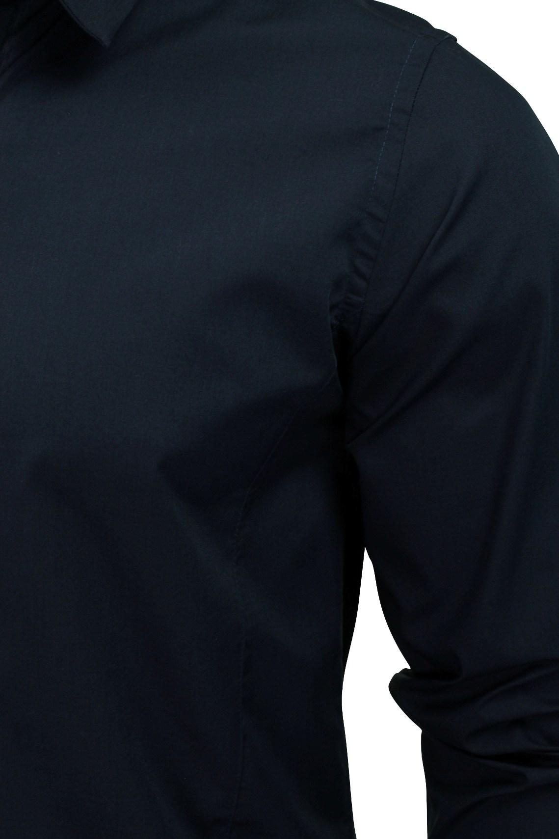 Mens-Plain-Shirt-by-Brave-Soul-039-Tudor-039-Long-Sleeved thumbnail 10