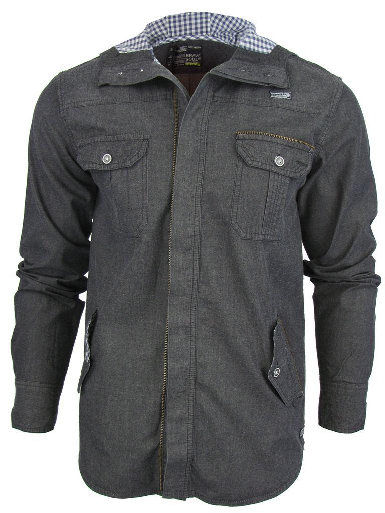 chemise a capuche homme brave soul 39 biblical 39 en jeans d lav style d contract ebay. Black Bedroom Furniture Sets. Home Design Ideas
