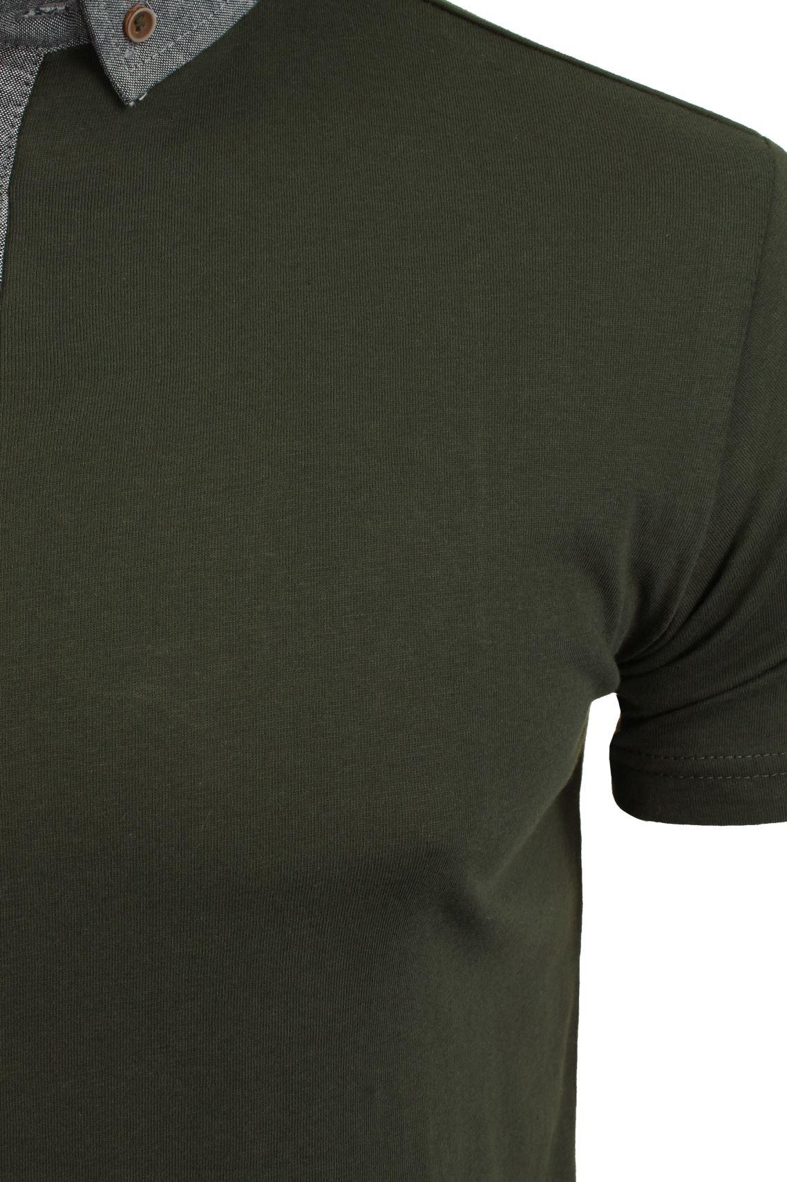 Mens-Polo-T-Shirt-Chimera-Brave-Soul-Denim-Chambray-Collar-Short-Sleeved-Cotton thumbnail 14