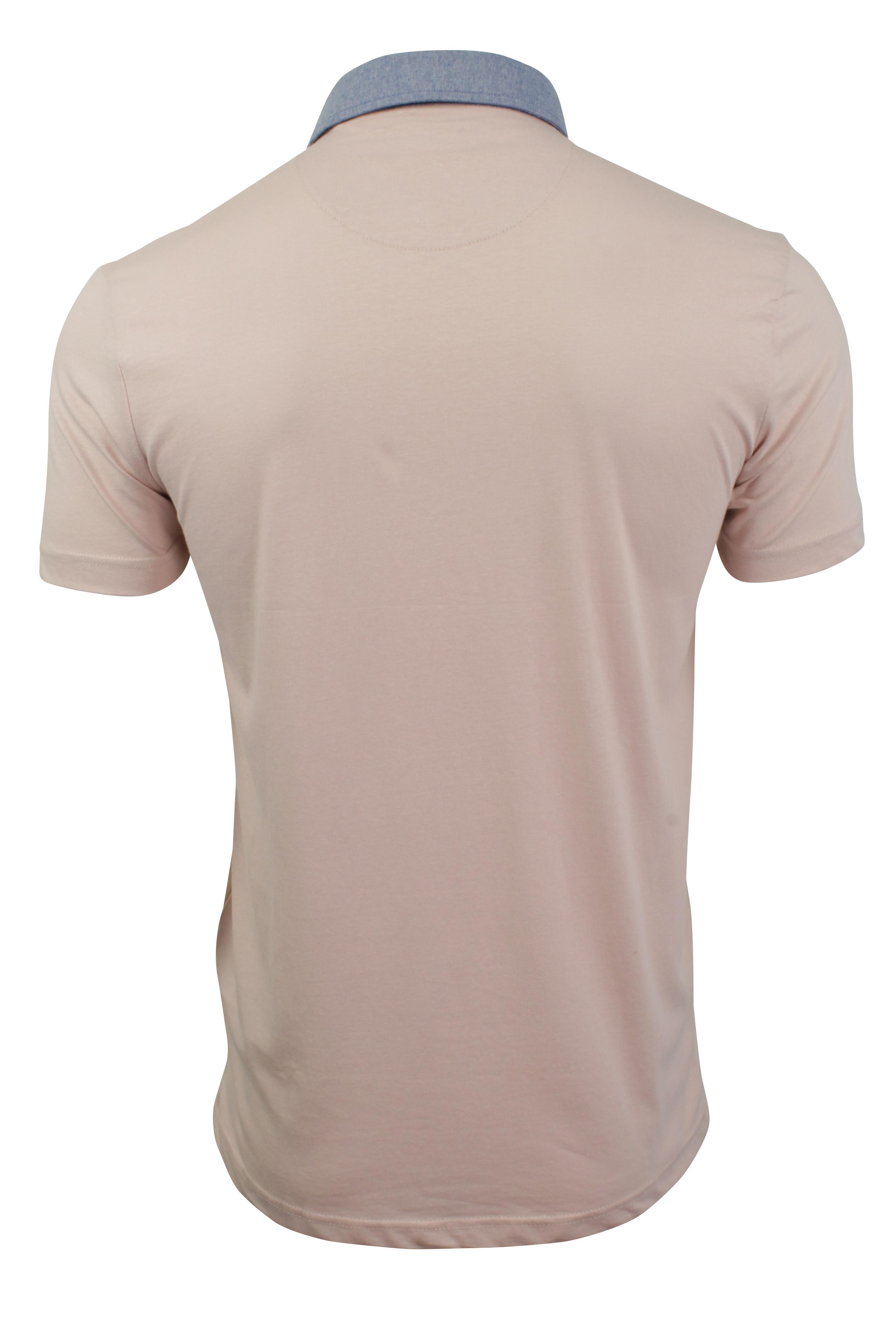 Mens-Polo-T-Shirt-Chimera-Brave-Soul-Denim-Chambray-Collar-Short-Sleeved-Cotton thumbnail 32