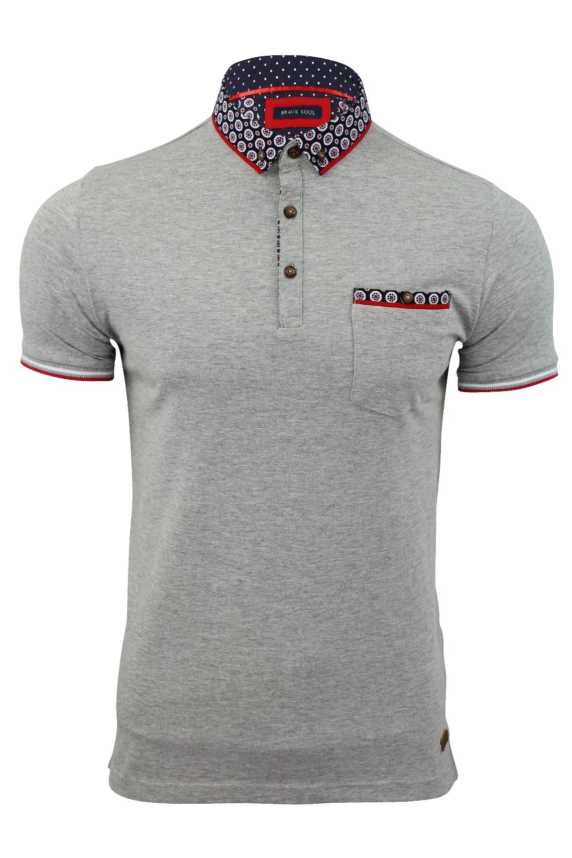 Mens-Polo-T-Shirt-Chimera-Brave-Soul-Denim-Chambray-Collar-Short-Sleeved-Cotton thumbnail 38