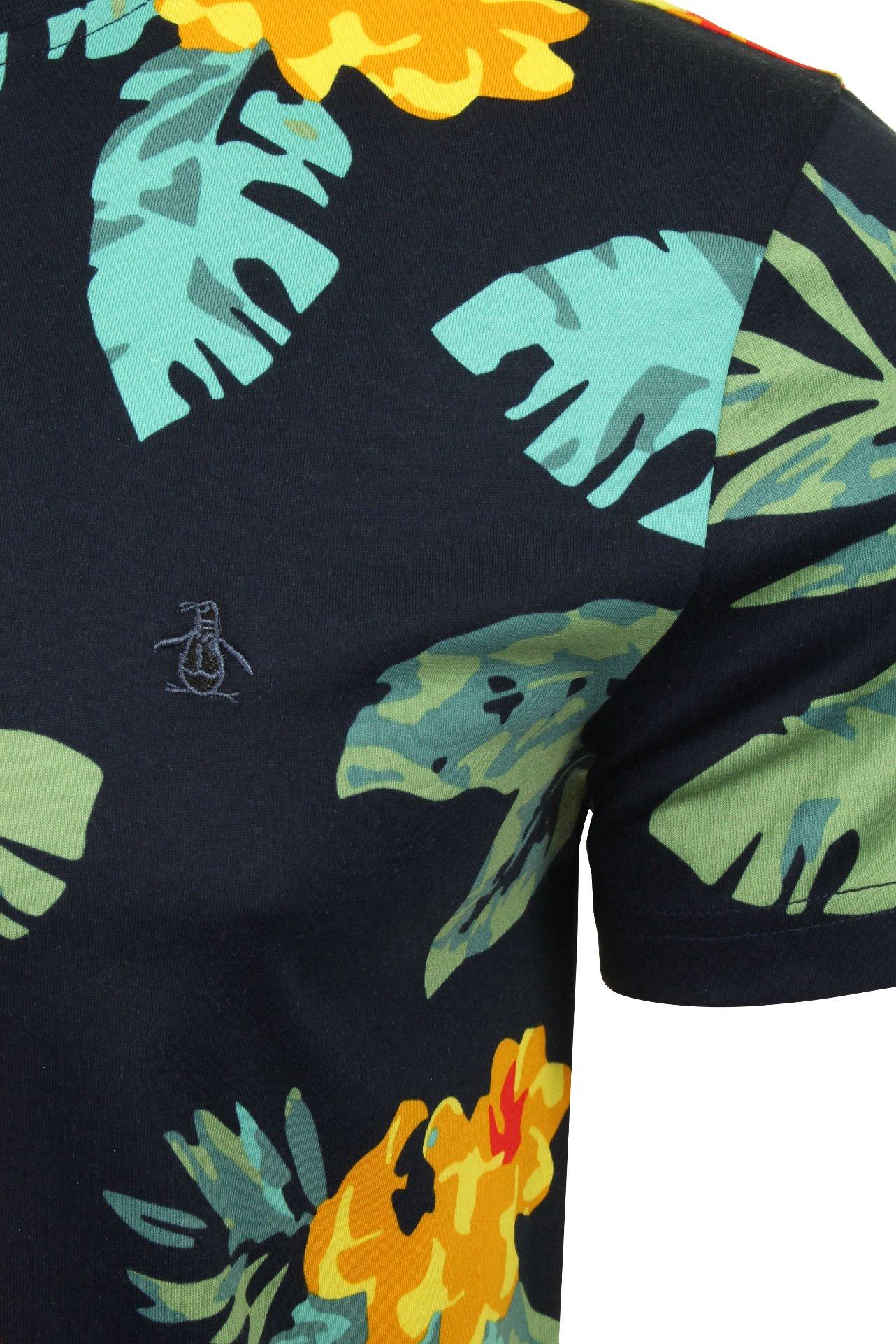 Original-Penguin-Mens-t-shirt-039-exploto-floral-de-manga-corta-039 miniatura 3