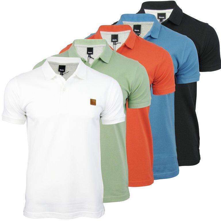 Bench Polo T Shirt Tidie Cotton Pique Logo Collar Short Sleeved Ebay