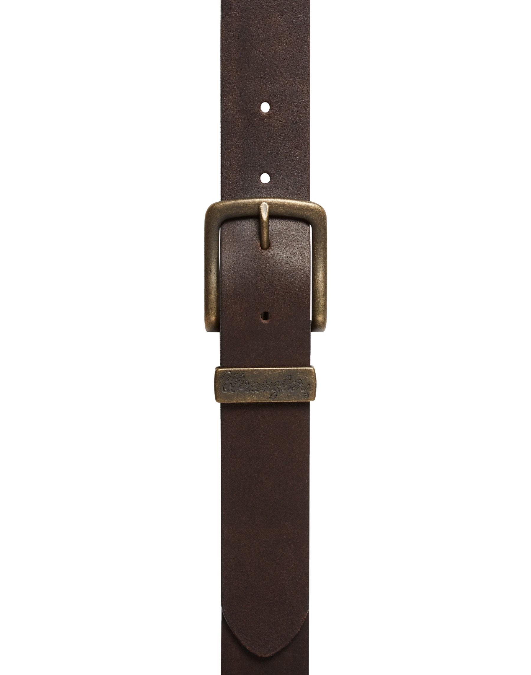 Mens-Wrangler-Leather-Belt-Metal-Loop